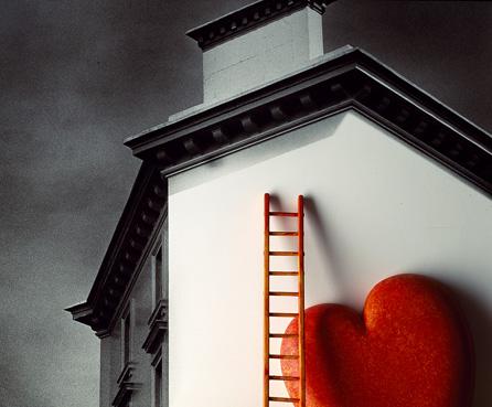 heart red home black+white