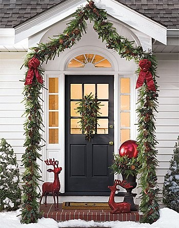 Festive Winter Holiday House Door